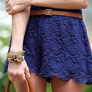 Free People blue lace scalloped shorts